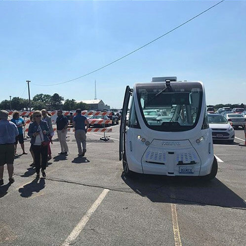 Autonomous vehicle in parking lot
