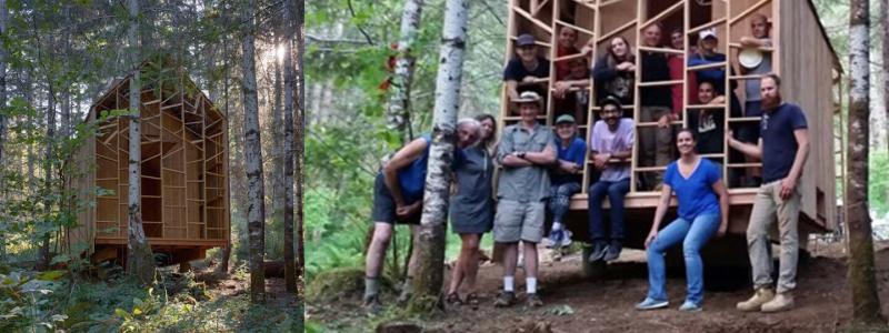Students stand by project built in forest