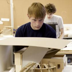 Student working on design project